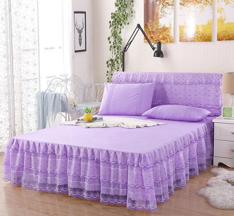 مجنون طرح رسالة Purple Bed Skirt, Purple Queen Size Bed Skirt
